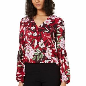 Bar III XS Red Floral Print Faux Wrap Top 3X61